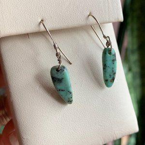 Dainty Sterling Silver & Turquoise Hook Earrings